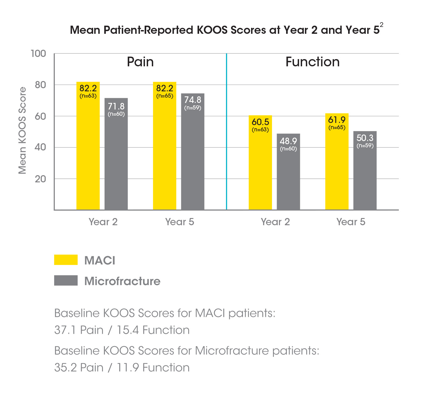 Mean Patient-Reported KOOS Scores at Year 2 and Year 5